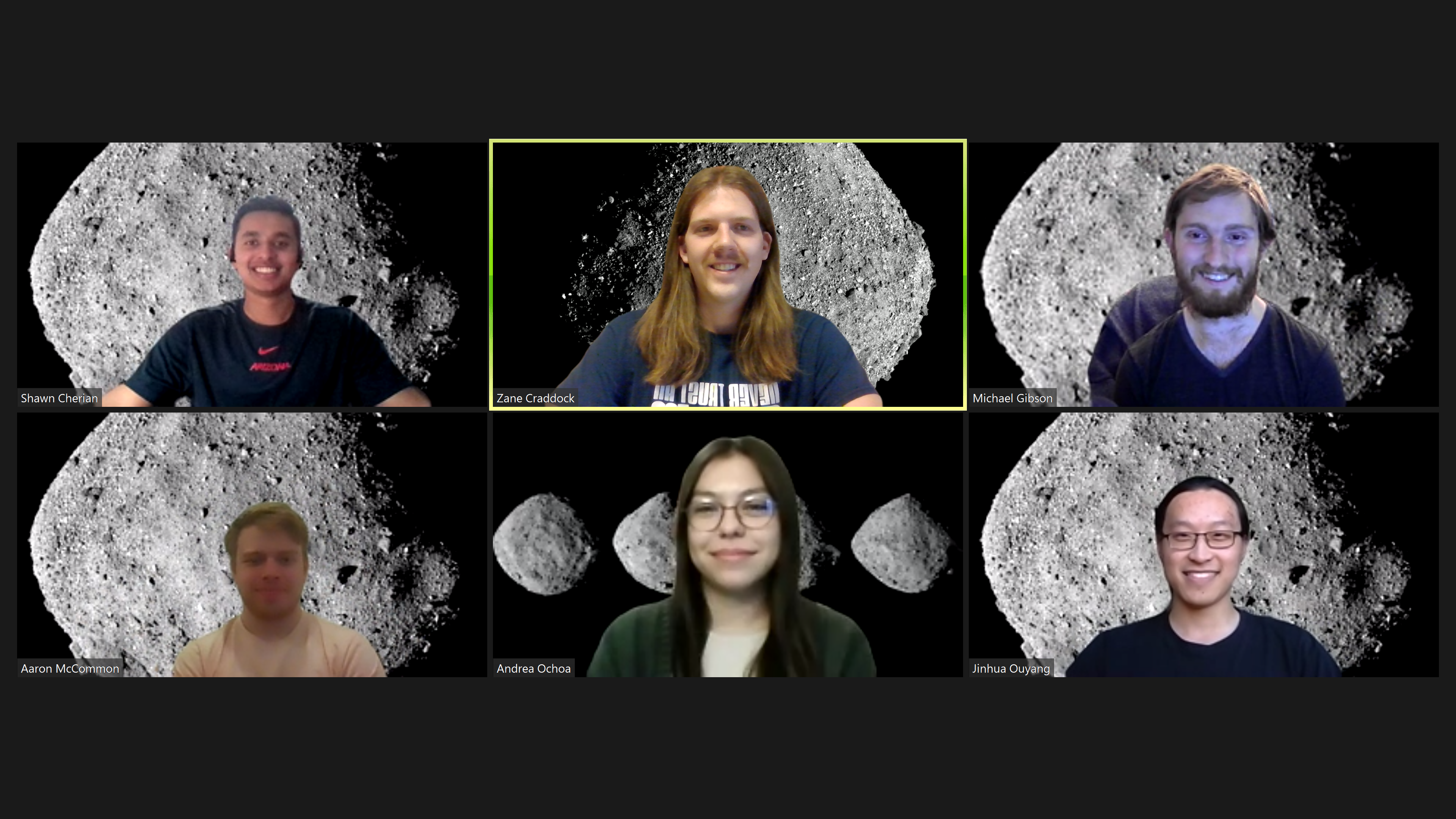 Screenshot of six students in a Zoom meeting, who all have the asteroid Bennu set as their background image.