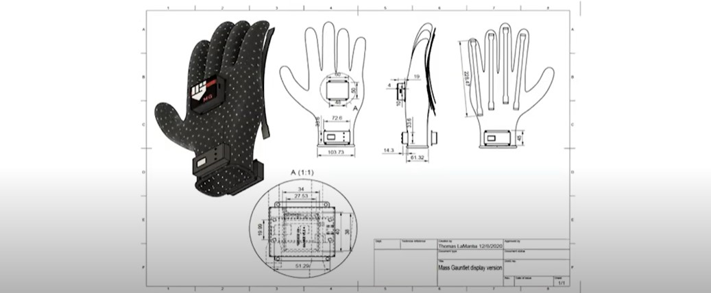 Digital drawings of a glove, seen from three different angles.