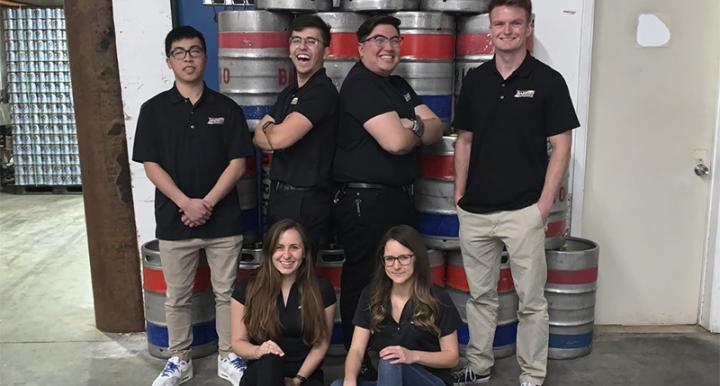 Top of image engineering students stand in front of brewery equipment. Bottom of image student colle