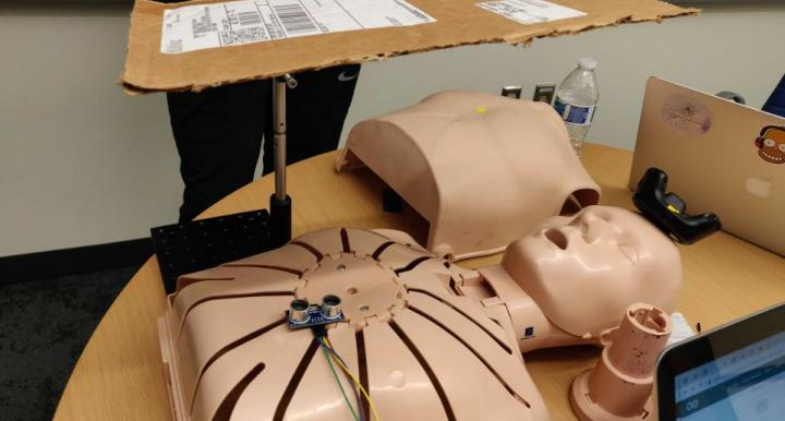 Image of an engineering senior design project involving a mannekin