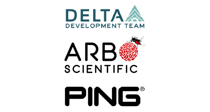 Logos for Delta Development, Arbo Scientific and PING